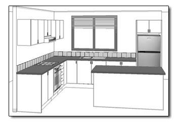 L Shaped Kitchen View