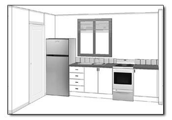 Straight Kitchen Layout View